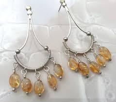 Citrine Chandelier Earrings Citrine Chandelier Earrings Sterling Wire Wrap By Nayali On Etsy