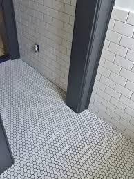 light grey hexagon tile white porcelain hex tile on floor 3x6 white subway tile on light