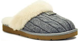ugg sheepskin slippers sale ugg cozy knit grey knit shearling lined slipper in black lyst