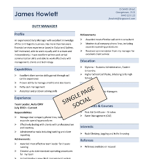 one page resume template word single page resumes pertamini co