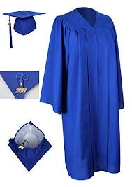 blue cap and gown blue graduation cap and gown