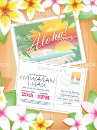 smith family garden luau postcard themed hawaiian luau invitation design template stock