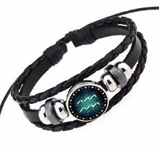 bracelet black images Black leather zodiac bracelet astrology gifts jpg