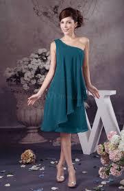 moroccan blue chiffon bridesmaid dress one shoulder full figure