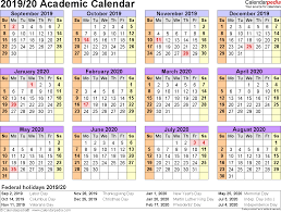 academic calendars 2019 2020 as free printable pdf templates