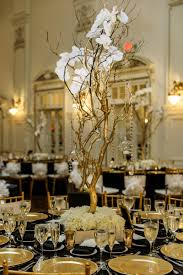 manzanita branches centerpieces reception décor photos gold manzanita branches with orchids