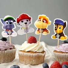 Paw Patrol Cake Decorations Peppa Pig Toppers Picks 24pcs Lot Paw Patrol Cupcake Inserts Card