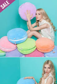 Lumbar Pillows For Sofa by Cartoon Colorful Macaron Style Round Back Cushion Soft Plush