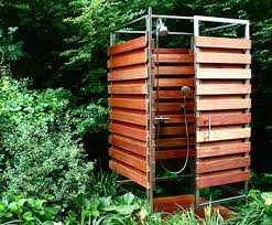 sleek sustainable prefab outdoor shower assembles in 30 minutes