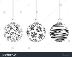 hanging balls black stripes snowflakes stock vector