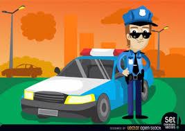 imagenes animadas de justicia gratis personaje de dibujos animados con el coche de policía descargar