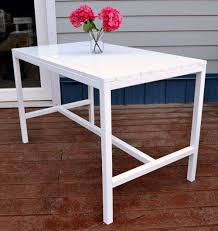 White Patio Dining Set by Ana White Harriet Outdoor Dining Table For Small Spaces Diy