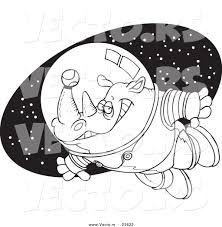 vector of a cartoon rhino astronaut with a tennis ball coloring