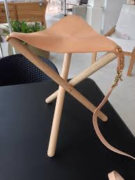 folding leather brass u0026 wood tripod stool u2014 handsome eugene at