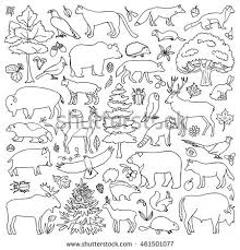 Doodle Forest Animals Plants Coloring Page Stock Vector 461501077 Forest Animals Coloring Pages