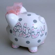 Baptism Piggy Bank Large Girly Personalized Chevron Piggy Bank From Neat Stuff Gifts