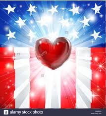 Country American Flag American Flag Patriotic Background With Heart Concept For Love Of