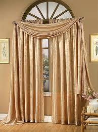 window treatments with scarves gold satin curtains scarf valance