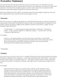 sample business summary template business financial summary