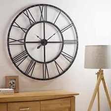large wall clock large skeleton frame black metal garden wall clock with roman