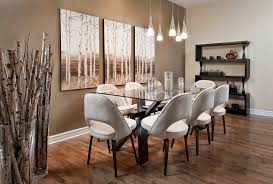 aspen wood wall big vases dining room modern with wood decor pink brown chairs