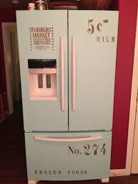 refrigerator makeover with chalk paint and stencils for the home