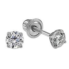 diamond back earrings 14k white gold solitaire cubic zirconia cz stud