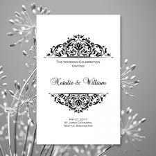 Wedding Party Program Template Black U0026 White Wedding Ceremony Program Template