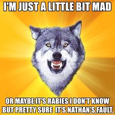 Mad Wolf Meme - i m just a little bit mad or maybe it s rabies i don t know but