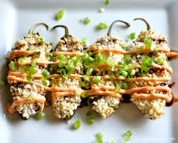 sriracha mayo sushi crab and cream cheese stuffed jalapeno poppers life tastes like food