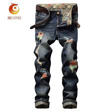new euramerican trend patch men jeans paint color personality