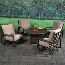 Outdoor Table With Firepit by Horizon Aluminum Cushioned Fire Pit Chat Grouping Outdoor Patio