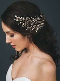 pearl headpiece gold pearl feather bridal hair wedding sofie headpiece