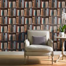 wall borders for living room grandeco exclusive biblioteque library books pattern bookshelf
