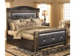 Bedroom Sets With Drawers Under Bed Signature Design By Ashley Coal Creek King Upholstered Mansion Bed