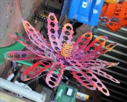 Recycled Garden Decor Hand Crafted Garden Decor Metal Outdoor Sculptures Red Flower