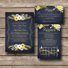 wedding invitations okc navy yellow floral wedding invitation modern wedding navy