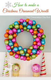 how to make a wreath using colorful ornaments four