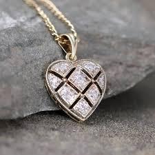 vintage diamond pendant necklace images Vintage diamond heart pendant 9k gold heart necklace jpg