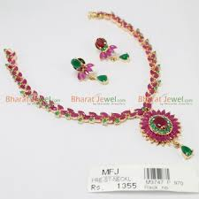 ruby necklace set images Ruby emerald stone necklace set online jpg