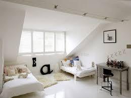 chic attic bedroom design with many beds for big family ideas best