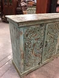turquoise distressed blue sideboards chest ornate lotus carved