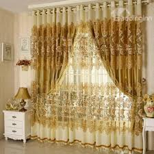 Sheer Curtains Grommet Top Decoration And Breathable Luxury Golden Peony Pattern Jacquard