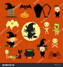 halloween graphic art pixel art icons halloween vector stock vector 123007060 shutterstock