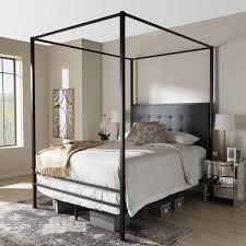 Black Canopy Bed Frame Industrial Black Canopy Bed By Baxton Studio Free Shipping Today