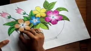 flower in vase drawing how to draw a flower vase with oil pastel short version video