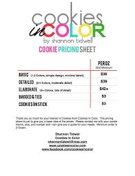 list of color in color cookies in color price list