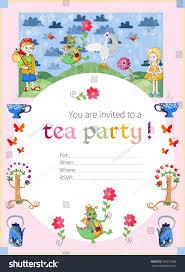 tea party invitation kids cute illustration stock vector 355911866