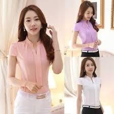 uk women formal career shirt office uniform top ol short sleeve