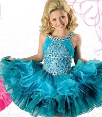 teal tulle gown halter teal tulle ruffle beaded tutu girl pageant dress